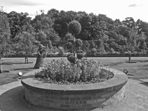 LANCASHIRE. Chorley. Astley Hall. The circular raised be in the walled garden.
