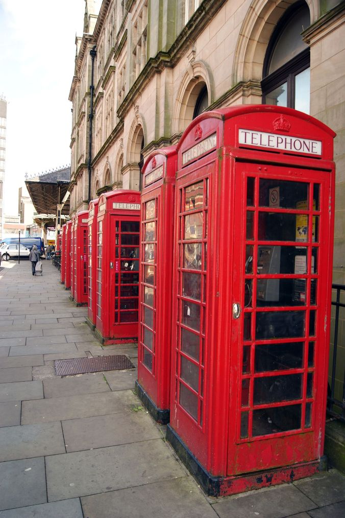 14/05/13 PRESTON. Telephone boxes all in a row.