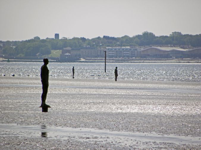 16/05/19  LIVERPOOL.  Crosby Shore. Another Place Statue. Three