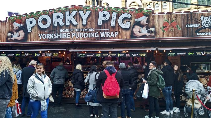 13/11/19  MANCHESTER.  Christmas Market On Exchange Square. Pork
