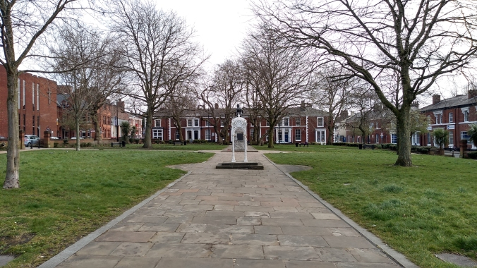 17/03/20  WARRINGTON. Palmyra Square. The Queens Gardens.