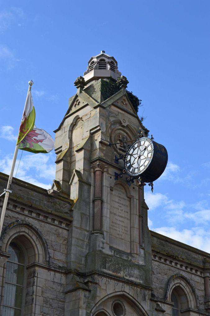 12/09/19  HOLYWELL. High Street  Town Hall & Mostyn Clock.